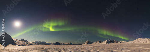 Photo  PANORAMA - Northern Lights - Arctic landscape