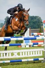 Fototapeta Reitsport - Hindernisreiten, Pferd und Reiter beim Absprung