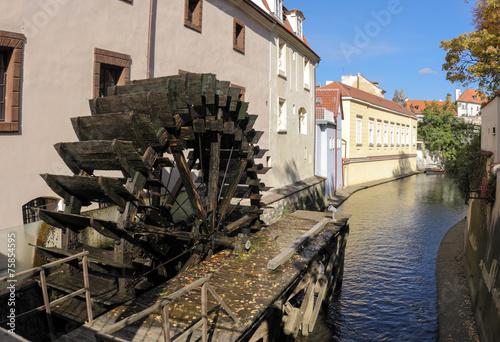 Staande foto Rotterdam Watermill at Certovka river, Prague, Czech Republic