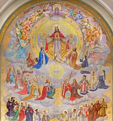 Fototapeta Vienna - big fresco of Heart of Jesus with the angels