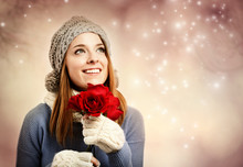 Happy Young Woman Holding Red ...