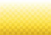 金色の市松模様と紙吹雪
