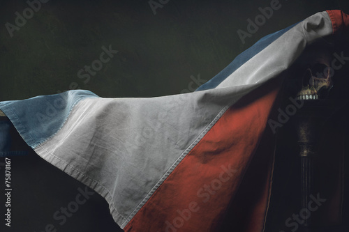 Canvas Print Vanitas of the french Flag with human Skull
