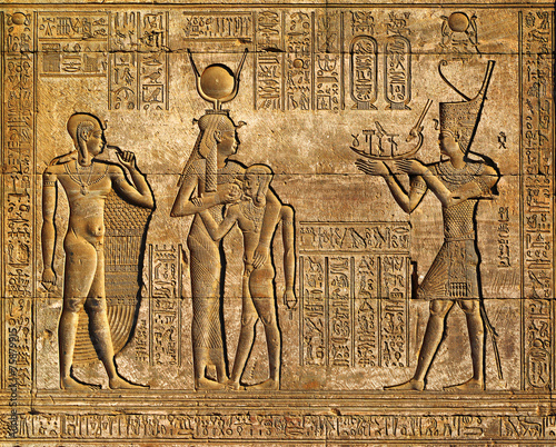 Poster Egypte Hieroglyphic carvings in ancient egyptian temple