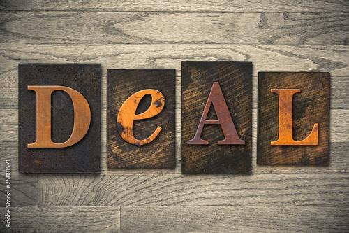 Deal Concept Wooden Letterpress Type Canvas Print