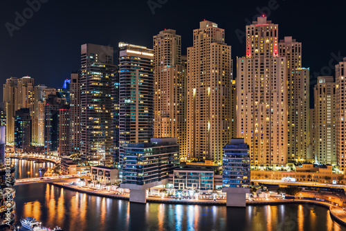Dubai Marina illuminated at night