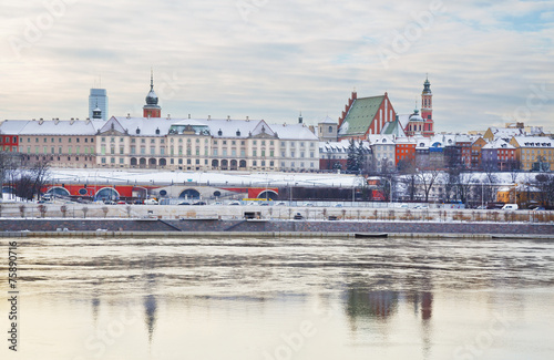 Royal Castle at winter in the Old Town of Warsaw, Poland. - 75890716