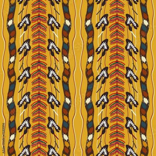 Photo Seamless texture of yellow. Tribal style. Vector illustration.