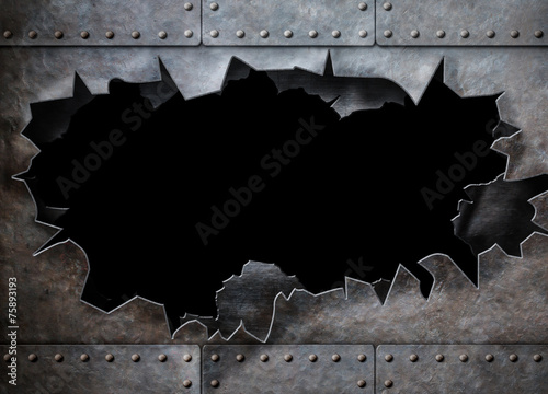 Fotomural  hole in metal armor steam punk background