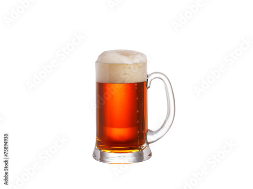 Glass of beer isolated on a white background Poster