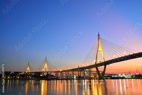 Photo  Bhumibol Mega Bridge (Industrial Ring Mega Bridge) at night, Ban