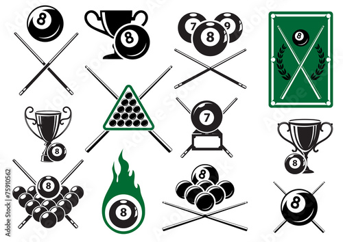 Photo Billiard, pool and snooker sports emblems