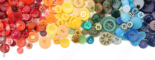Photo sur Aluminium Macarons Frame of colorful sewing buttons isolated on white