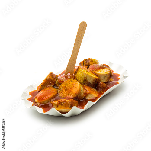 Photo  currywurst mit currypulver