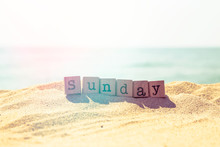 Sunday Word On Sea Beach In Re...