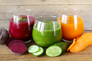 Fototapeta assorted fresh juices from fruits and vegetables