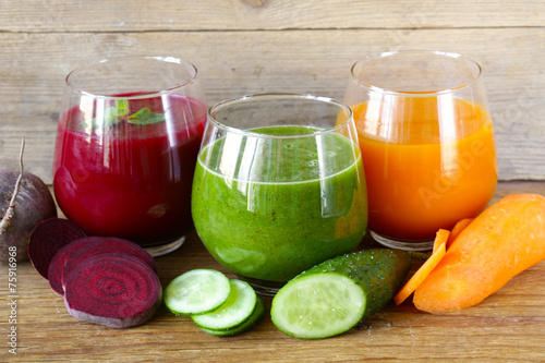 Staande foto Sap assorted fresh juices from fruits and vegetables
