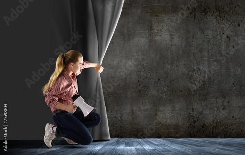 Photo  Girl opening curtain