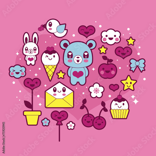 Photo  Valentine's day kawaii icons set
