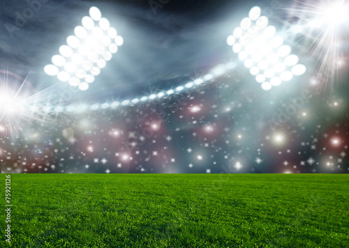 Türaufkleber Stadion Soccer ball on green stadium arena