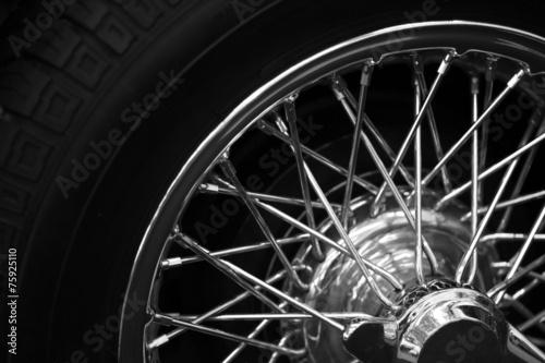 Fotografie, Obraz  Vintage car spoke wheel