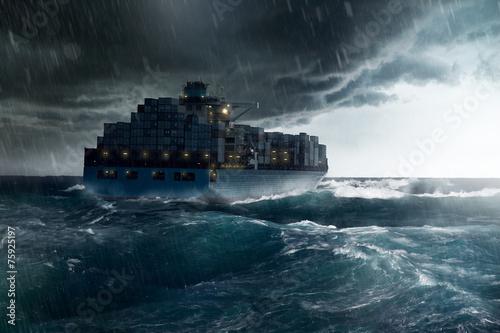 Fotografie, Obraz Nákladní loď v bouři