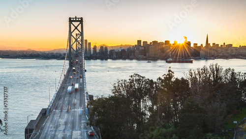Fotobehang San Francisco bay Bridge and San Francisco during the best moment