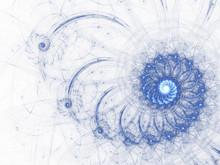 Sky Blue Fractal Spiral, Digital Artwork