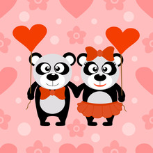 Valentine's Day Seamless Background Card With Pandas