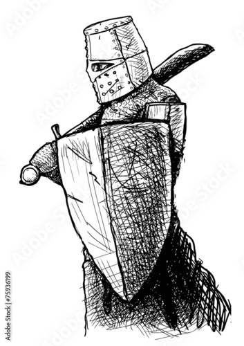 Photo  Templar with sword and shield