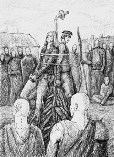 Two men are tied to the stake Fototapeta