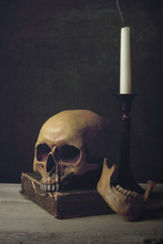 Vanitas With Skull, Book And Candle