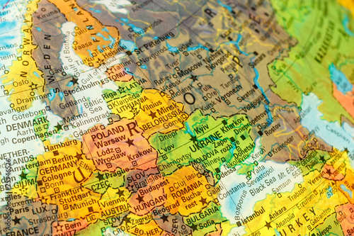 Photo Stands Eastern Europe map detail globe eastern Europe