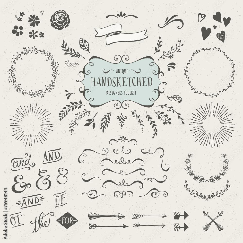 Fototapeta set of more than 60 hand-sketched design elements