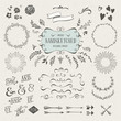 set of more than 60 hand-sketched design elements