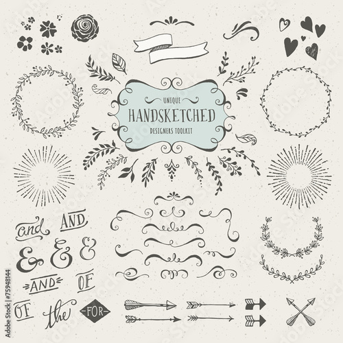 Photo  set of more than 60 hand-sketched design elements