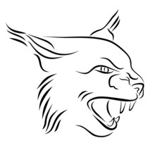 Head Of Angry Lynx Ink Line Art