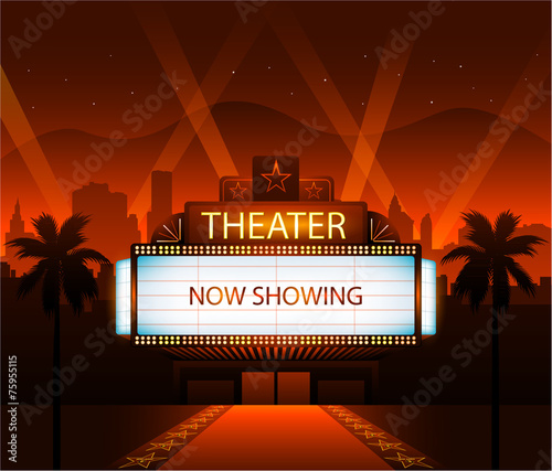 Photo  Now showing theater movie banner sign