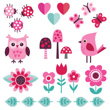 Cute Pink Design Elements For ...
