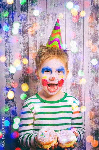In de dag Regenboog Faschings clown