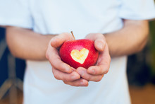 Red Apple With Cutted Heart