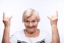Closeup Of Elderly Woman Showing