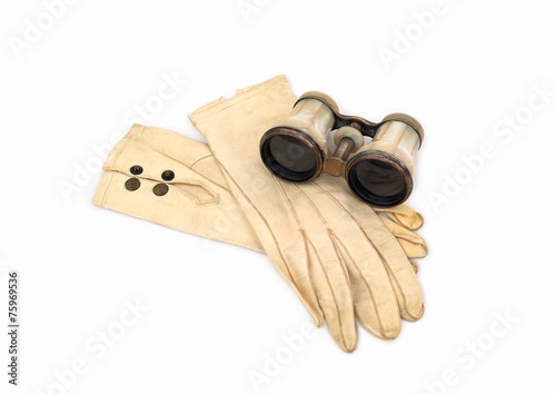 Fotografie, Obraz  Antique Opera Glasses with Leather Gloves on white background.