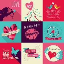 Happy Valentines Day Greeting Card Set
