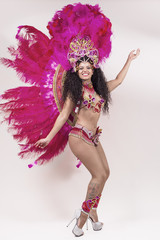 Fototapeta Do szkoły tańca Samba dancer wearing pink costume