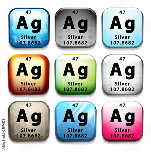 Poster  Buttons showing Silver and its abbreviation