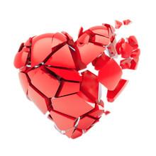 Isolated Broken Red Heart