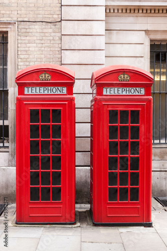 Fotografie, Tablou  Traditional red telephone booths in London