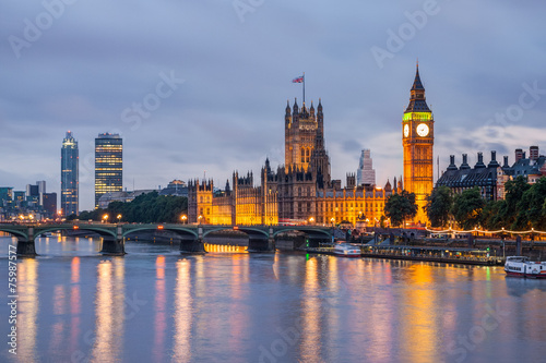 Fotobehang Londen Big Ben and Westminster Bridge at dusk, London, UK