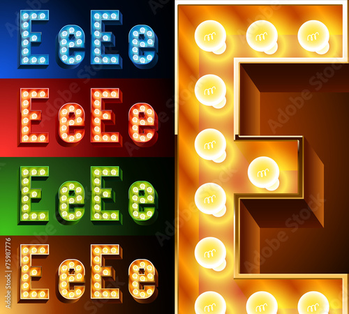 Photo  Realistic lamp board alphabet. Multicolored.  Letter e